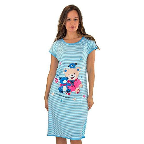 Real Essentials #5012 1 Pack: Short Sleeve Nightshirt/Sleep Shirt for Women Below The Knee Long Length Sleepwear Blue Teddy Bear - L