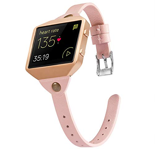 Wearlizer Compatible for with Fitbit Blaze Band Leather New Metal Frame Classic Genuine Leather Wristband Strap Accessory Fit bit Blaze T Type Floral (Pink)