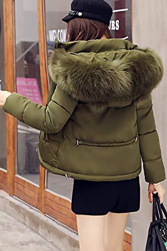 Retro De Con Capa Manga Corto Laterales Outwear Piel Verde Mujer Plumas Larga Capucha Invierno Moda Bolsillos Hipster Abrigos Cuello Cremallera faq1aYw