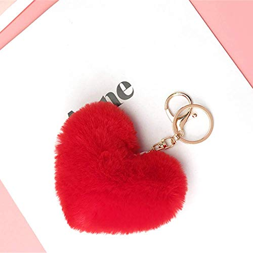 (Fluffy Fur Pom Pom Heart Shaped Keychains Charms for Women, Teens and Girls Red)