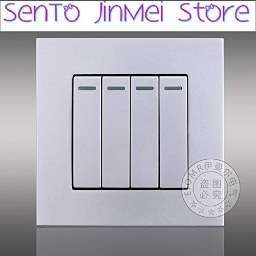 Silver Four Billing Control Switch Socket Panel 86 Type Household Wall Dark Clothes Position Control 4 Switch Socket Single Lian Panel  (color  White)