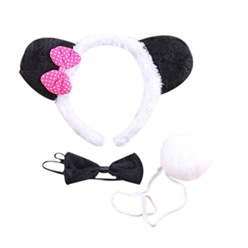 Marlegard 3PCs Funny Dalmatian Milk Leopard Costume Headband Ear with Tail Tie (Hot Pink) -