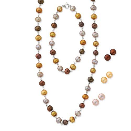 (Sterling Silver FW Cultured Pearl 18 in Neck. 7.25 in Bracelet & 3 Piece Earring)