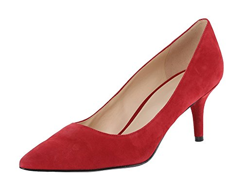 Pumps Heel Toe Shoes Mid Slip Womens Closed Pointed 6 5cm Suede Court On Scarlet Stiletto Office Ubeauty qwg7Ew