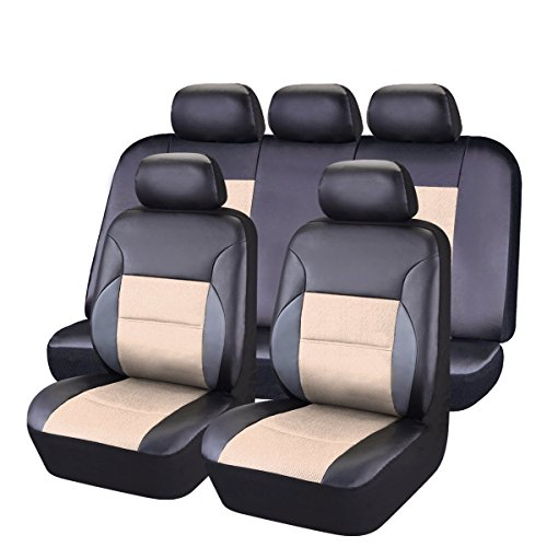(CAR PASS 11 Pieces Leather Universal Car Seat Covers Set - Black and Beige)