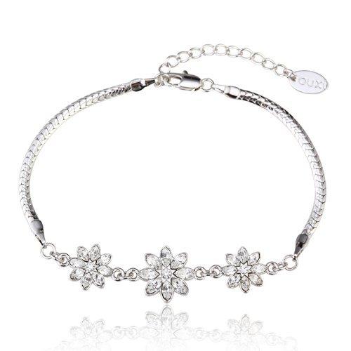 Intop Bijoux Lady Style Fleur de neige OUXI Cristaux Swarovski Plaqué or blanc Chaîne Bracelets