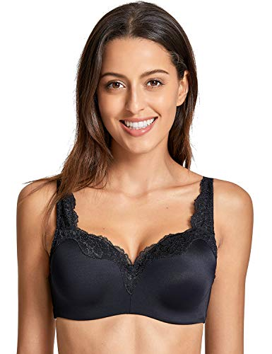 Lined Bra T-shirt Lightly (DELIMIRA Women's Underwire Smooth Lightly Lined No Show Supportive T-Shirt Bra Black 34C)