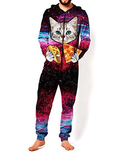 Adult Unisex 3D Printed Hoodie Pajamas Polyester Sportswear Jumpsuit Lion Wolf Cosplay Party Halloween Christmas Wear (Pizza Cat, XXL) -