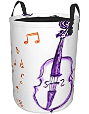 """Round Laundry Hamper,Musical Notes Instrument Violin Cello in Watercolors Style,Drawstring Folding Laundry Hamper 19""""X14"""""""