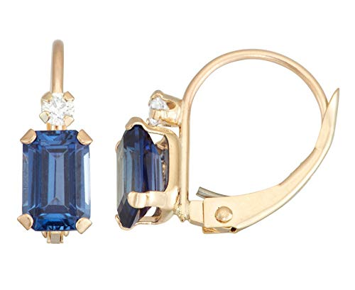 10K Gold Emerald Cut Created Sapphire Leverback Earrings (Dangling Cut Earrings Sapphire)