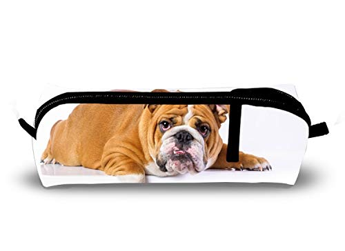 Lazy English Bulldog Charm School Pencil Pouch Case with Creative 3D Printing ()