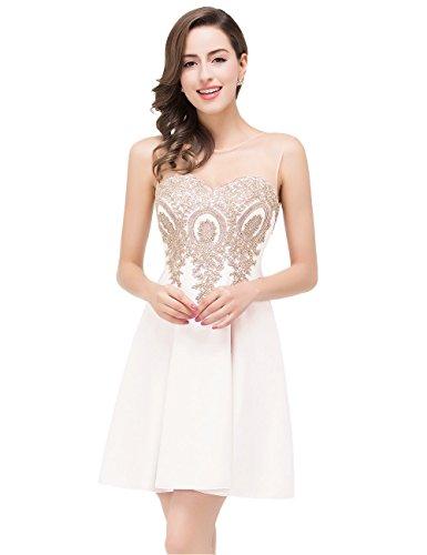 Babyonlinedress Junior de Homecoming vestido floral Corto Vestidos De Cóctel Prom Marfil
