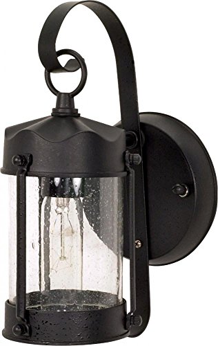 - Nuvo 60/635 Textured Piper Lantern with Clear Seed Glass, Textured Black