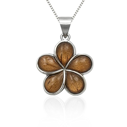 (Honolulu Jewelry Company Sterling Silver Koa Wood Plumeria Necklace Pendant with 18