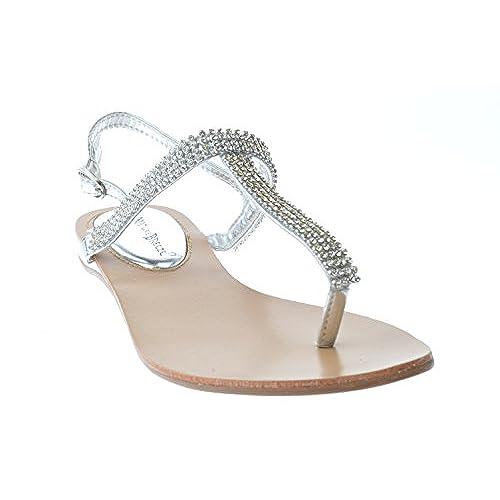 chic Kylie 08 Gladiator Rhinestone Thong Flat Sandlas Silver ... 9ffa7fd38