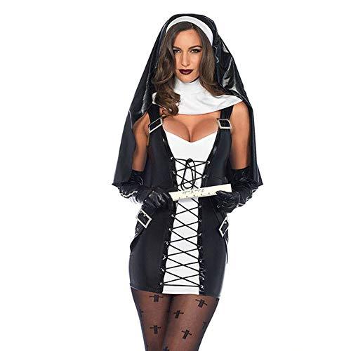 Brown Sugar 3 pcs. Women's Naughty Nun Costume Adult Sexy Black Faux Leather Halloween (XL)
