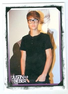 Justin Bieber baseball card (With Glasses On) 2011 Panini - Glasses Bieber