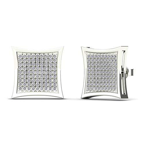 JewelAngel 14K White Gold 3/8ct TDW Diamond Square Stud Earrings (H-I, I1-I2)