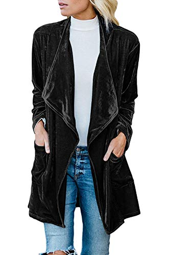 FUTURINO Women's Solid Long Sleeve Velvet Jacket Open Front Cardigan Coat with Pockets Outerwear Black
