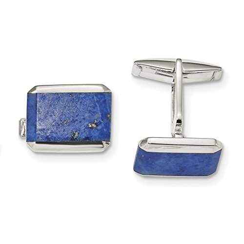 ICE CARATS 925 Sterling Silver Rectangle Lapis Cuff Links Mens Cufflinks Link Fine Jewelry Dad Mens Gift by ICE CARATS