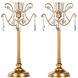 Amalfi Décor Tiffany 2-Piece Vintage Gold Metal Candelabra Set, Votive Candle Taper Candlestick Holder Accent Stand