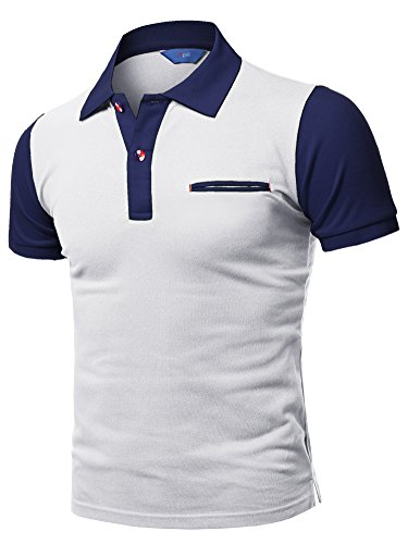 Xpril Solid Basic Color Contrast Short Sleeve Pique Polo Shirt White Navy Size (2 Color Pique)
