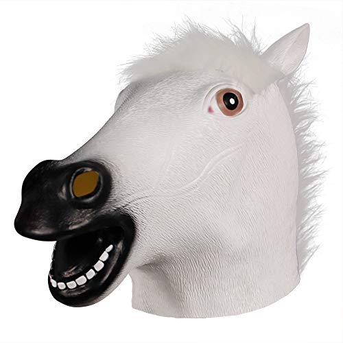 molezu Novelty Halloween Costume Party Latex Animal Head Mask Rubber White Horse Mask]()