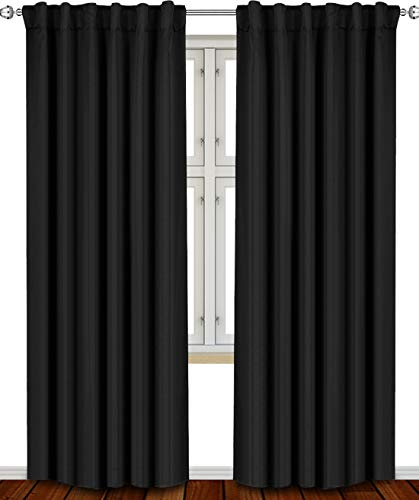 Utopia Bedding Blackout Room Darkening and Thermal Insulating Window Curtains/Panels/Drapes - 2 Panels Set - 7 Back Loops per Panel - 2 Tie Backs Included (Black, 52 x 84)