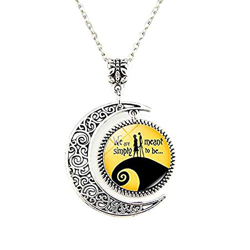 Skellington Necklace Pendant Gift, Jack and Sally Nightmare Before Christmas]()