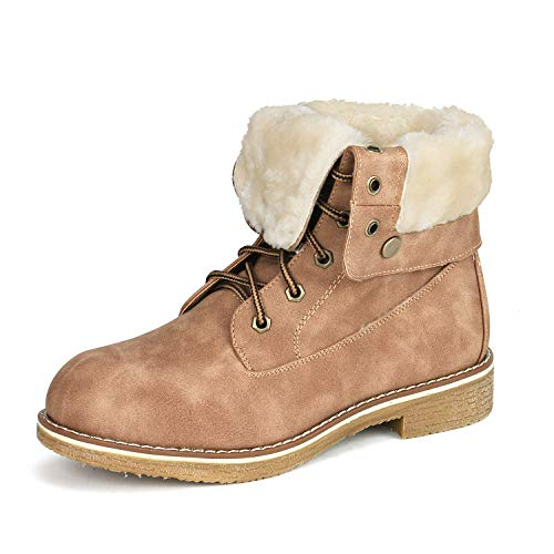 DREAM PAIRS Women's Montreal Camel Faux Fur Ankle Bootie Size 8.5 B(M) US