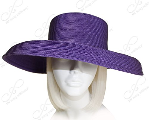 THE RED HAT SOCIETY® Shop by Luke Song Tagline Straw Wide Structured Brim Hat Body (Untrimmed Hat Only) T1058-B (Society Hat Red Dresses)