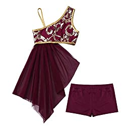 Girls Lyrical Dancewear In Burgundy