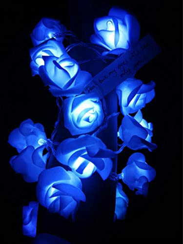 Fantasee - LED Rose Flower String Lights Battery Operated, Decoration Rose Lights for Wedding Propose Marriage Home Room Party Birthday Festival Indoor Outdoor Decorations, 6.6ft 20 LEDs (Blue)