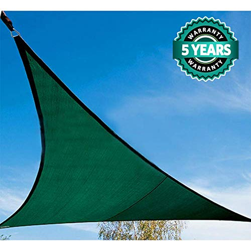 Quictent 185G HDPE Triangle Sun Shade Sail Canopy 98% UV Block Top Outdoor Cover Patio Garden Sand (20 x 20 x 20 ft, Green)