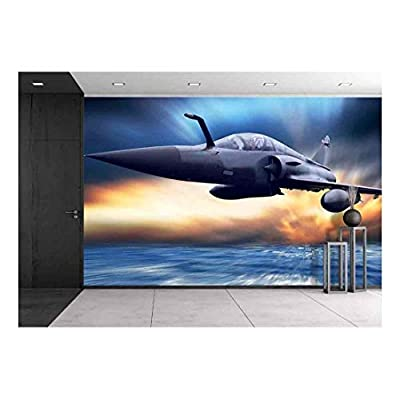 Military Airplan on The Speed - Removable Wall Mural | Self-Adhesive Large Wallpaper - 100x144 inches