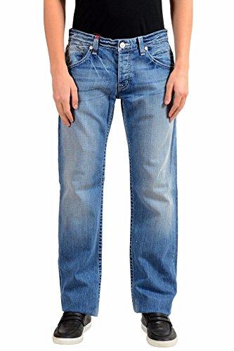 Emporio Armani Men's Blue Stretch Straight Leg Jeans US 32 IT 48 (Armani Jeans Straight Leg Jeans)