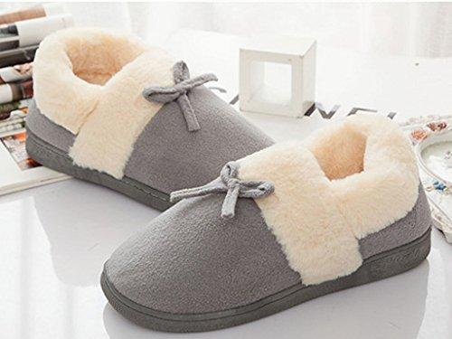 Femme Unisexe Bowknot En Hiver Pantoufles Chaussures Avec Gris Coton Homme Minetom Chaussons D'Intérieur Chaud Couple AIxqOwdW