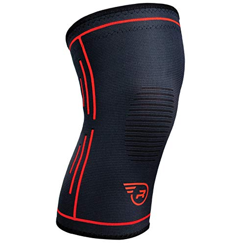 Knee Support Brace - Single Wrap Compression Sleeve Stabilizer for Running, Weightlifting, Soccer, Basketball | Best Arthritis, ACL MCL Meniscus Patella Protector | Men Women Joint Pain Relief - MED