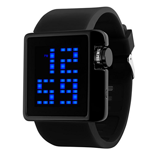 Gets Men Sports Digital Watch Military Electronic Army Simple LED Watch with Back Light and Silicone Strap