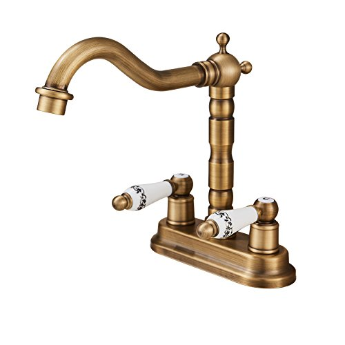 (Rozin Deck Mounted 4-inch Centre Hole Basin Faucet Dual Knobs Bathroom Sink Mixer Tap Antique Brass)