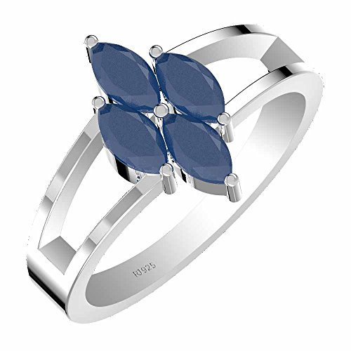 1.40ctw,Genuine Sapphire 3x6mm Marquise & Solid .925 Sterling Silver Ring ()