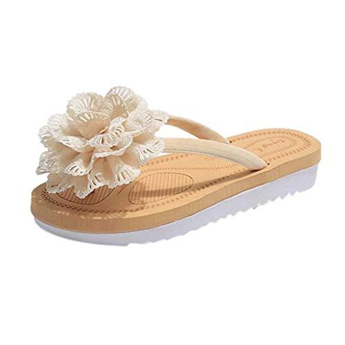 FAPIZI Boho Flat Flip Flops Fashion Womens Clip Toe Flower Rome Slippers Casual Platform Sliders Beach Slippers Shoes Beige