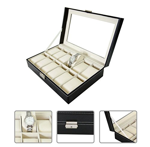 Todeco - 11.8 inch Watch storage case - 12 watch display box - lockable box for watch collection (Watch Display Case 12 compare prices)