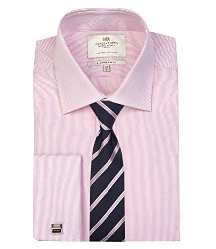Hawes & Curtis Herren Business Hemd Gestreift Slim Fit Kentkragen Buegelleicht Rosa/Weiss 37cm Kragen, 84cm Aermel (UK 14.5 - 33)
