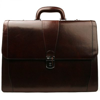 Old Leather Laptop Briefcase Color: Dark Brown by Bosca