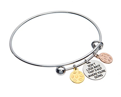 Jewelry Nexus Dont Look Back Thats Not Where Youre Going Inspirational Adjustable Charm Antique Brushed Bangle