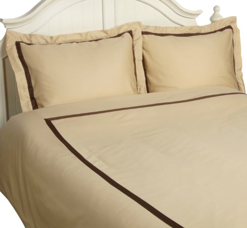 Superior 300 Thread Count 100% Cotton, Hotel Collection, Single Ply, Twin Duvet Cover Set, Honey with Mocha Duvet Cover Honey