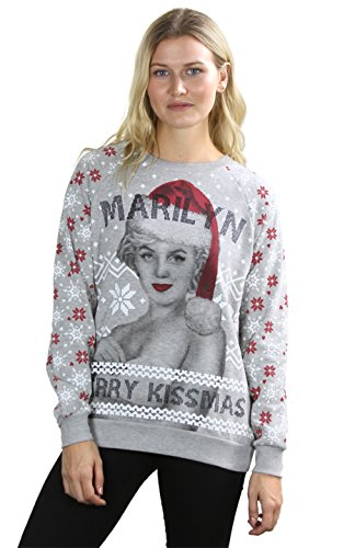 Store Hours For Walmart On Christmas Eve - BodiLove Women's Cute Ugly Comfy Christmas Holiday Themed Sweatshirt Grey Red S (MR18-GREY Red-TP-SWT)