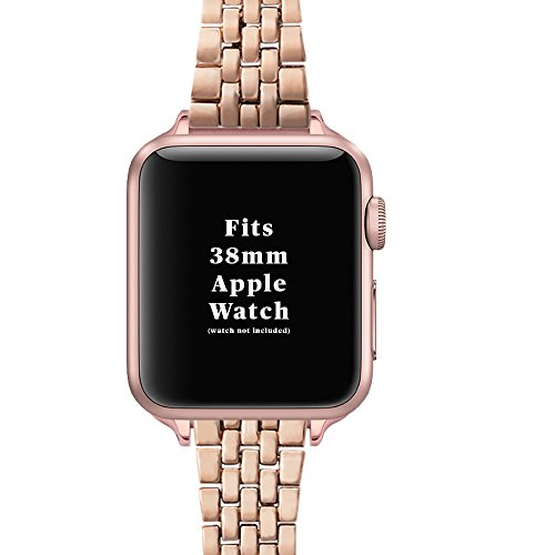 WRISTOLOGY Apple Watch 38mm Gold Womens Metal Mesh or Link Interchangeable Replacement Watch Band (Rose Gold Little Link) (Madden 25 Mobile)