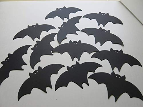 Black Bats Halloween Table Scatter Confetti 12 Pieces, 6 Inch Die Cut Outs for Treat Tags, DIY Projects, Bat Cave Wall Decor]()